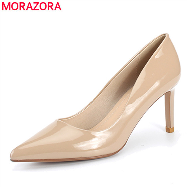 fbe0d3e03 MORAZORA 2018 new fashion genuine leather shoes woman high heels wedding shoes  nude color summer pointed toe sexy ladies shoes
