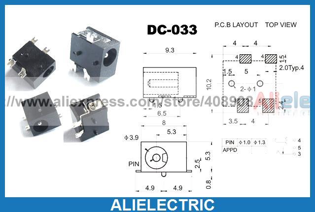 500 pièces 3.5mm x 1.3mm DC prise Jack DC 033 pour femelle SMD PCB chargeur fiche d'alimentation