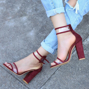 Image 4 - KHTAA Women Summer High Heel Sandals Transparent Ankle Strap Pumps Cover Heel Fashion Dancing Shoes Sexy Party Wedding Shoes