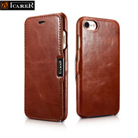 ICARER Luxury Series Case For IPhone 7 7 Plus Real Genuine Cow Skin Leather Cover Magnetic