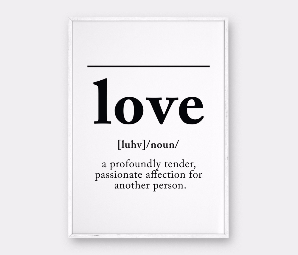 LOVE Definition, Love Wall Art Definition Print Canvas
