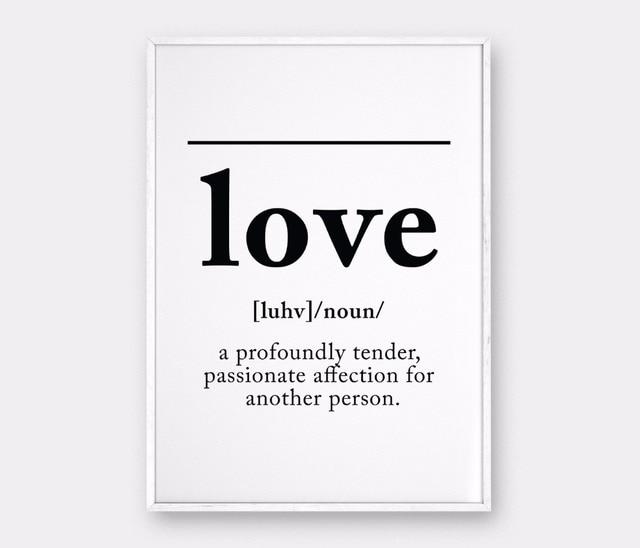 LOVE Definition, Love Wall Art Definition Print Canvas