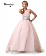 pink kids gown for girls pageant dress one-shoulder rhinestone tull flower