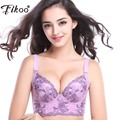 Fikoo Bras Women Top Bra Sexy Push up Brassiere Plus Size Embroidery Floral Comfortable Purple Beige Black Underwear Lingerie