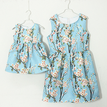 family clothing brand peach floral print A shape mother and girls matching dresses party fits dress women Sleeveless fit dresses
