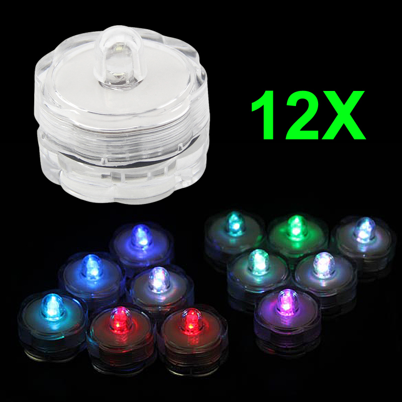 12pcs super bright submersible waterproof mini led tea light candle lights for wedding party. Black Bedroom Furniture Sets. Home Design Ideas