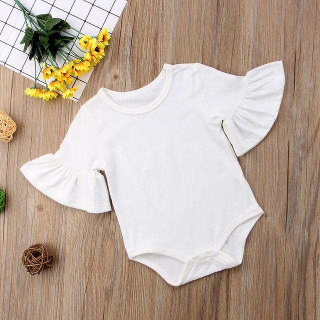 Baby Girl Plain Cotton Half Sleeve Ruffled Romper