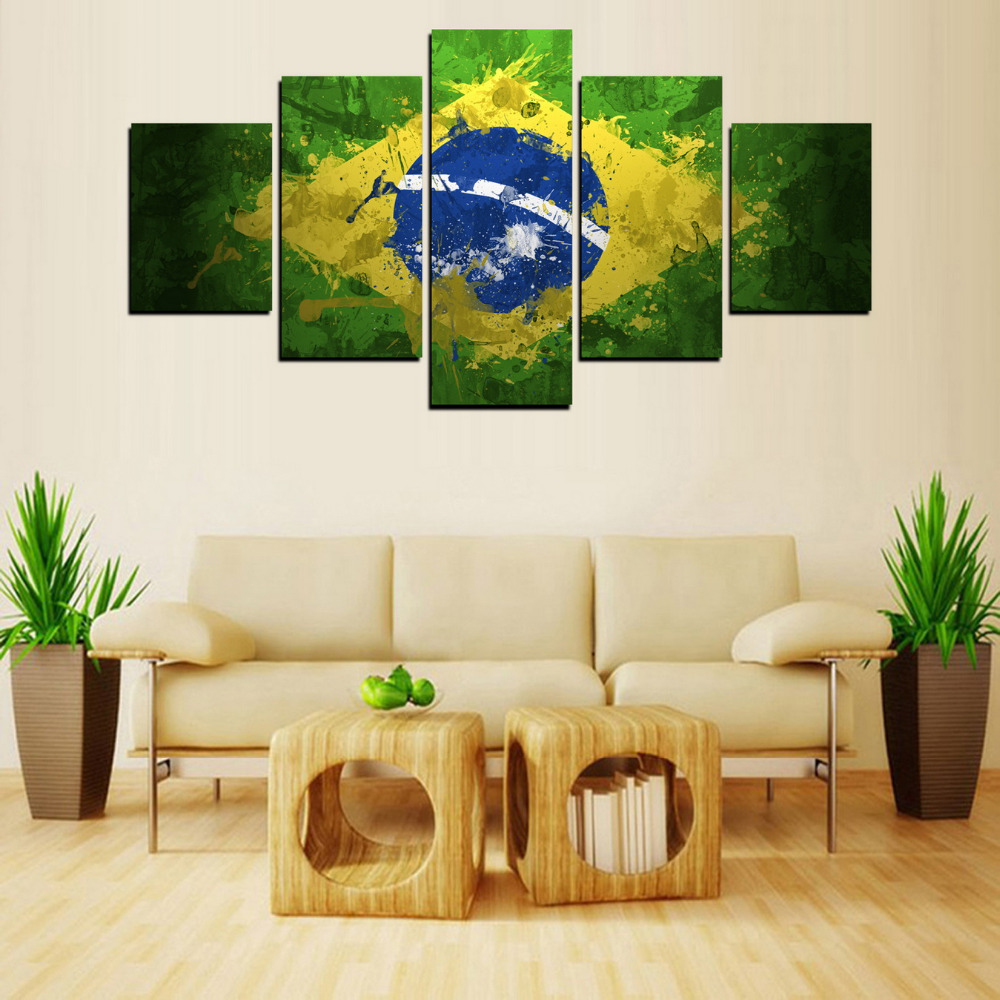 5 Panels Brazil Flag Painting for Living Room Wall Art Picture Gift ...