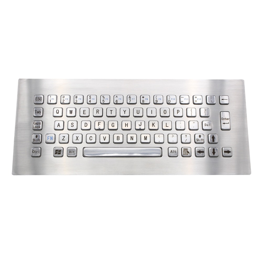 IP65 Kiosk Metal Rugged Keyboard With 65 Keys Vandal Proof Stainless Steel Industrial Keypad For Ticket Vending Machine metal keyboard ylgf ps 2 super mini embedded industrial key waterproof ip65 dust anti violence stainless steel ring