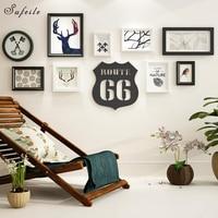 SUFEILE 1 комплект Nordic Европейская мода деревянная фоторамка настенные часы креативные Комбинации настенные украшения Гостиная Ресторан Фрам