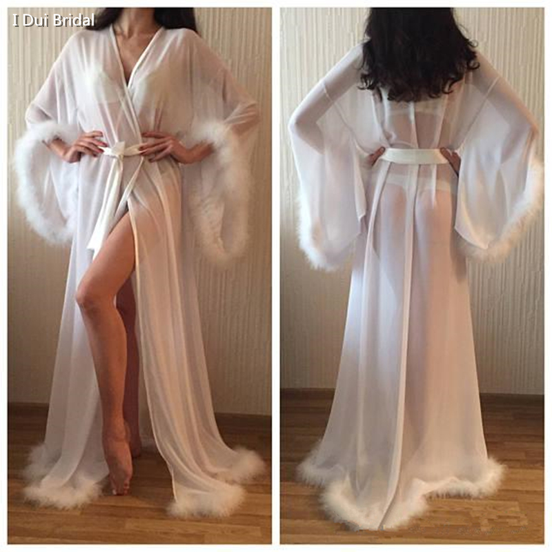 Feather Wedding Bridal Robe Birthday Party Evening Gown With Belt