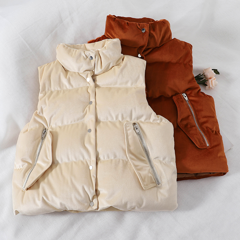 MUMUZI 2018 New Brand Autumn Slim Velvet Women Vest Jacket Warm Cotton Stand Collar Winter Short Waistcoat female