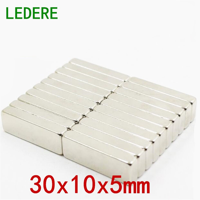 LEDERE 5/10pcs 30mm x 10mm x 5mm Block Cuboid Fridge Magnets 30*10*5 Rare Earth Neodymium 30x10x5 N35 Art Craft Connection
