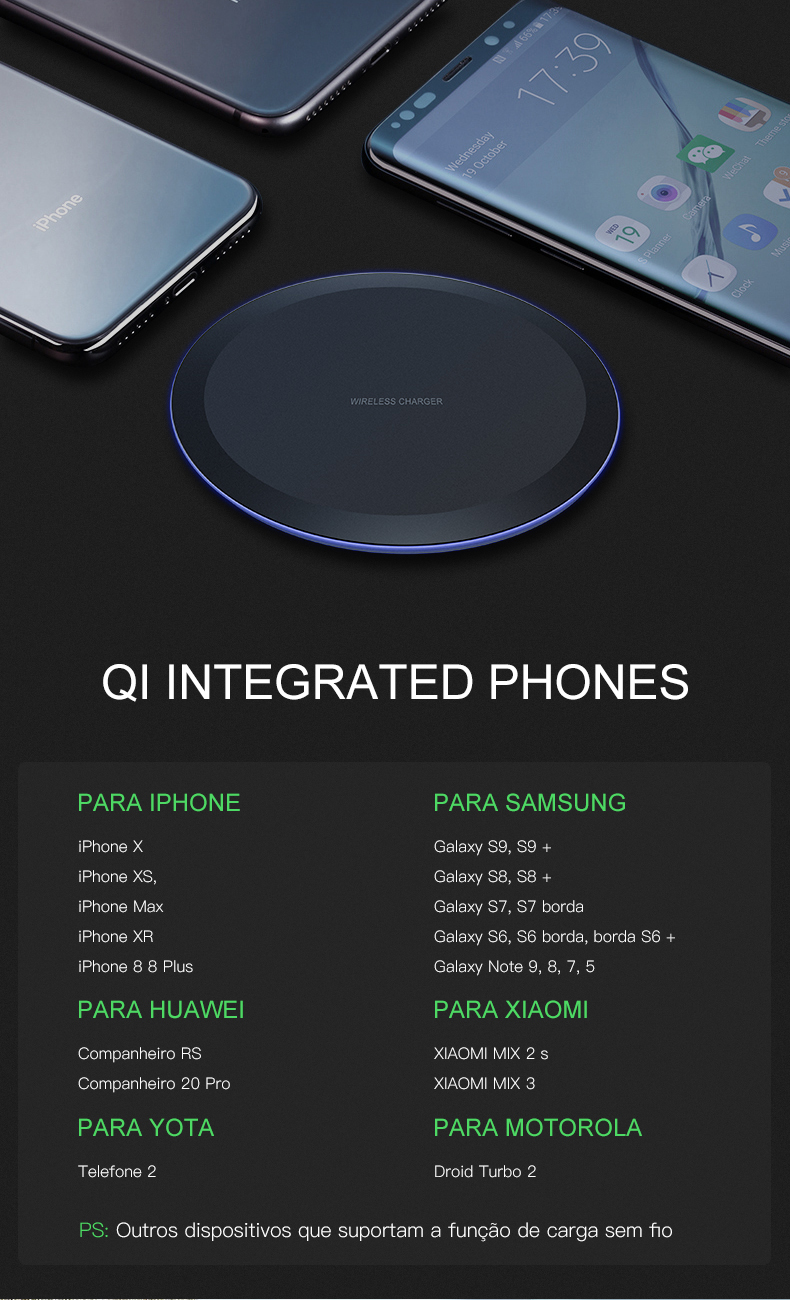 ESVNE 5W Qi Wireless Charger for iPhone X Xs MAX XR 8 plus Fast Charging for Samsung S8 S9 Plus Note 9 8 USB Phone Charger Pad-in Wireless Chargers from Cellphones & Telecommunications on Aliexpress.com | Alibaba Group 10