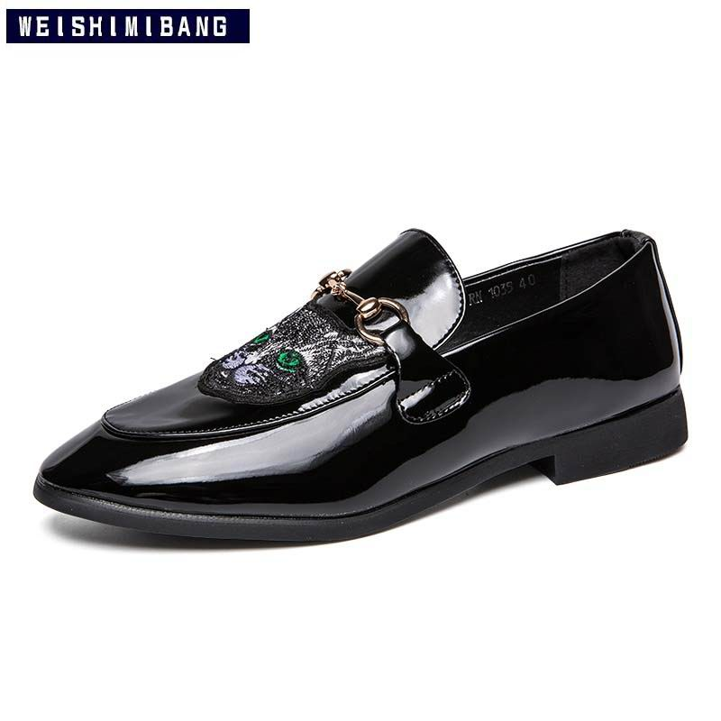 Chat Shinyblack La Loisirs Taille Bout En Cuir Motif Plus mattblack Sur Chaussures Mode 3847 Hommes Pointu Weishimibang Slip Noir Occasionnels Pu Dbe2WEH9IY