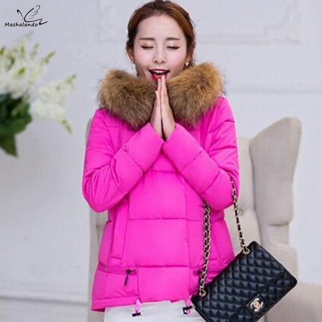 2016 Mulheres Novo casaco de inverno jaqueta grossa para baixo Nagymaros gola do casaco com capuz casaco feminino curto parágrafo de Slim tamanho grande jaqueta