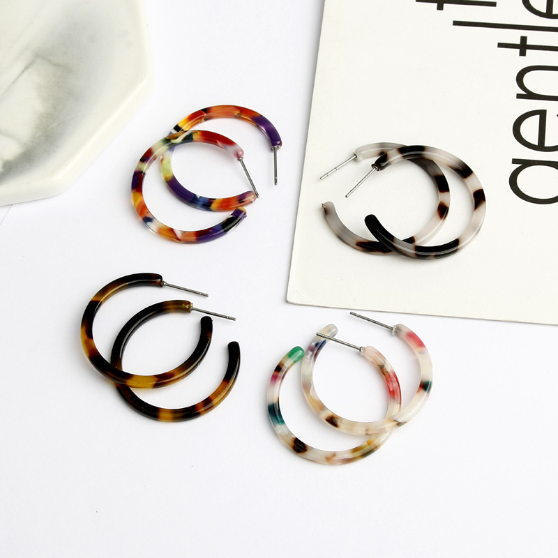 Acrylic Earrings Semicircle Leopard-Grain Multi-Color Special-Design Resin New-Fashion