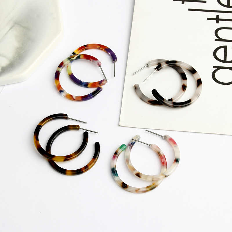 2019 New Fashion Leopard Grain Multi-Color Big Hook Acrylic Earrings Special Design Semicircle Resin Drop Earring