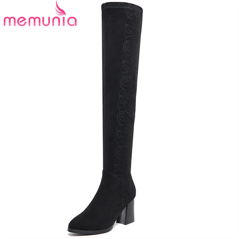 MEMUNIA Big size 34-41 leather boots for women embroidery over the knee boots in winter high heels shoes woman cow suede memunia genuine leather boots woman over the knee boots for women high heels shoes fashion stretch long boots big size 34 43