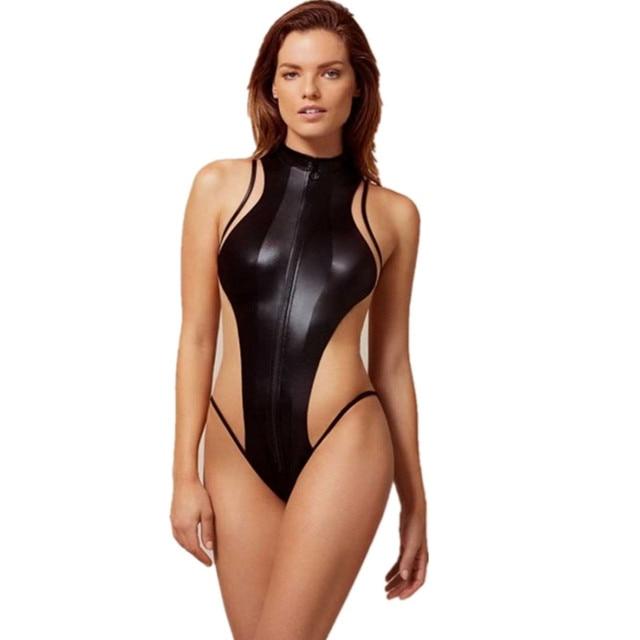 3f5be9ebb183b Halter One Piece Swimsuit With Zipper Swimwear Mesh Bathing Suit Sports  Swimming Wear For Women