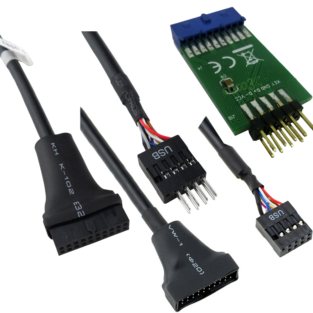 Motherboard 19 Pin Usb 3 0 Male Header To 9pin Usb 2 0
