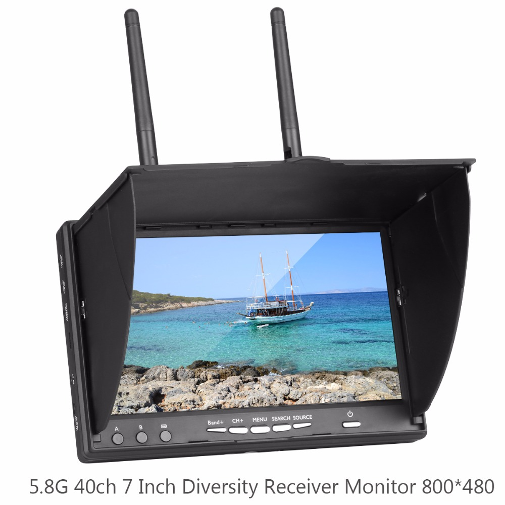LCD5802S 5802 40CH Raceband 5.8G 7 Inch Diversity Receiver Monitor 800*480 with Build-in Battery for ZMR250 QAV-X High Quality fpvok fpv 5 8 ghz 40ch rd40 raceband dual diversity receiver with a v and power cables