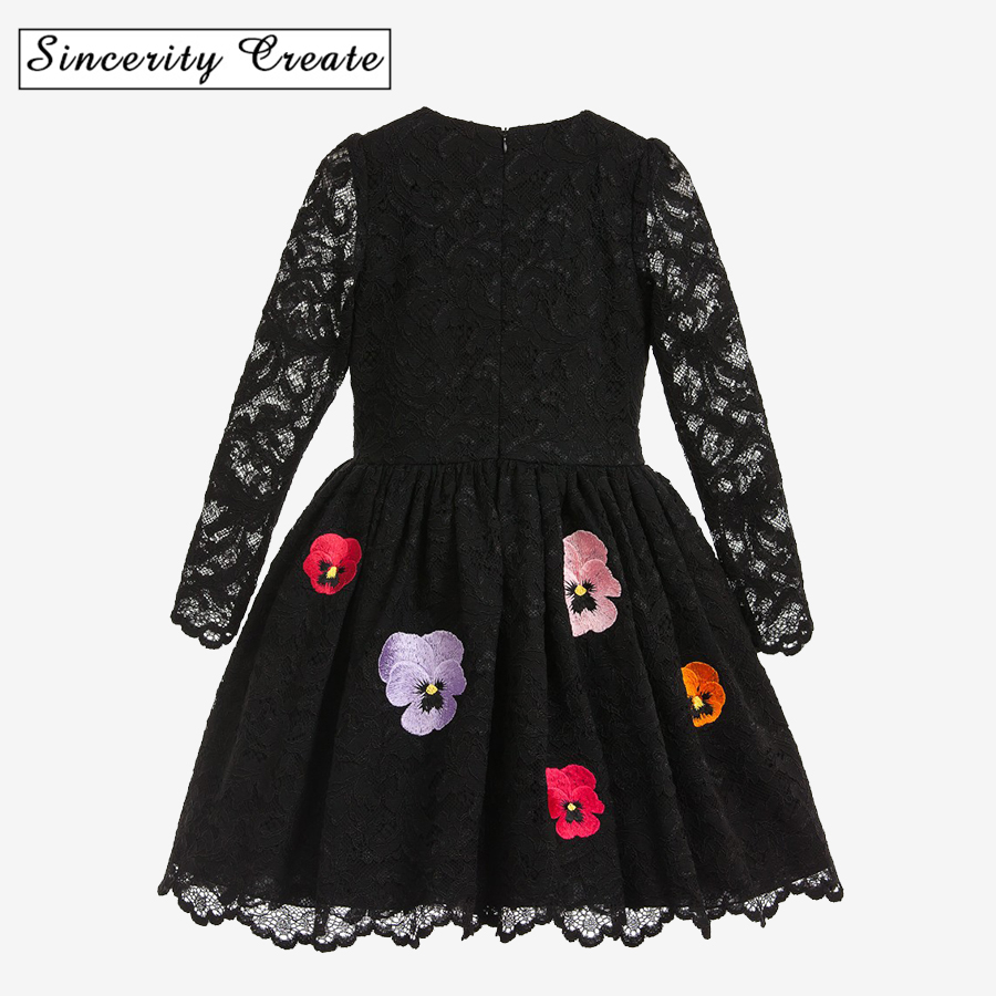 Spring Long Sleeve Girls Dresses Party Princess Dress Black Lace Vestido Girl Clothes Kid Costume Dresses For Girls KD-1806 kid girls sweater lace dress 2018 spring