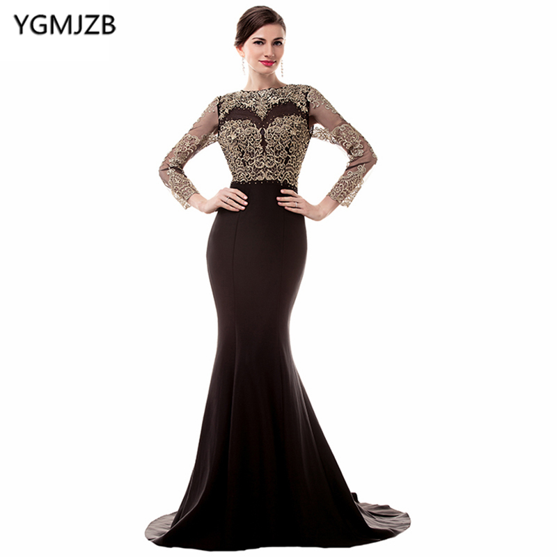 See Through Black Evening Dresses 2018 Mermaid Long Sleeve Open Back ...