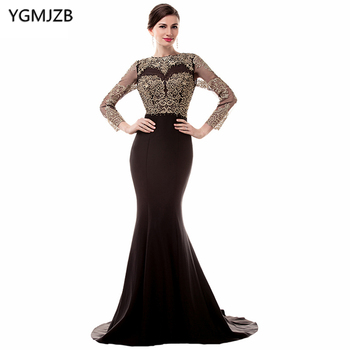 See Through Black Evening Dresses 2018 Mermaid Long Sleeve Open Back Beaded Appliques Lace Prom Dress African Prom Evening Gown