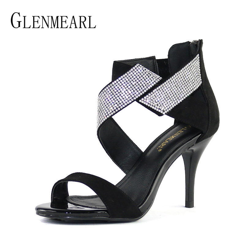 Women Sandals High Heels Shoes Brand Open Toe Ankle Strap Summer Shoes Woman Plus Size Rhinestone Thin Heel Wedding Sandals CE купить