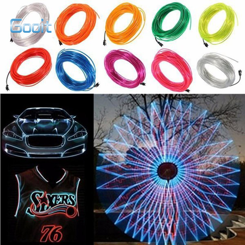 20M EL Led Flexible Soft Tube Wire Neon Glow Car Rope Strip Light Xmas Decor DC 12V hot sale 10 colors 3m clamping edge two splices led flexible el wire neon glow light with 12v controller for most cars styling