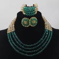 Beautiful Teal Green and Chunky African Jewelry Set 4 rows Gold Crystal Beaded Dubai Necklace Stud Earrings Set Free Ship QW097