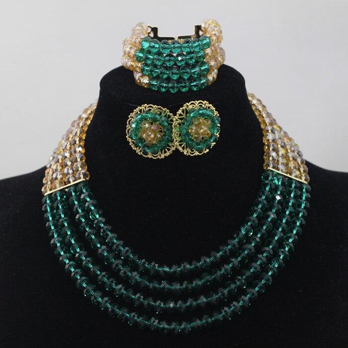 Belle Teal Vert et Chunky Perles Africaines Ensemble de Bijoux En Cristal D'or Perlé Dubaï Collier Boucles D'oreilles Set Bateau Libre QW097