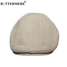 BUTTERMERE Men Beret Cap Cotton Beige Flat Cap Hat Male Soli