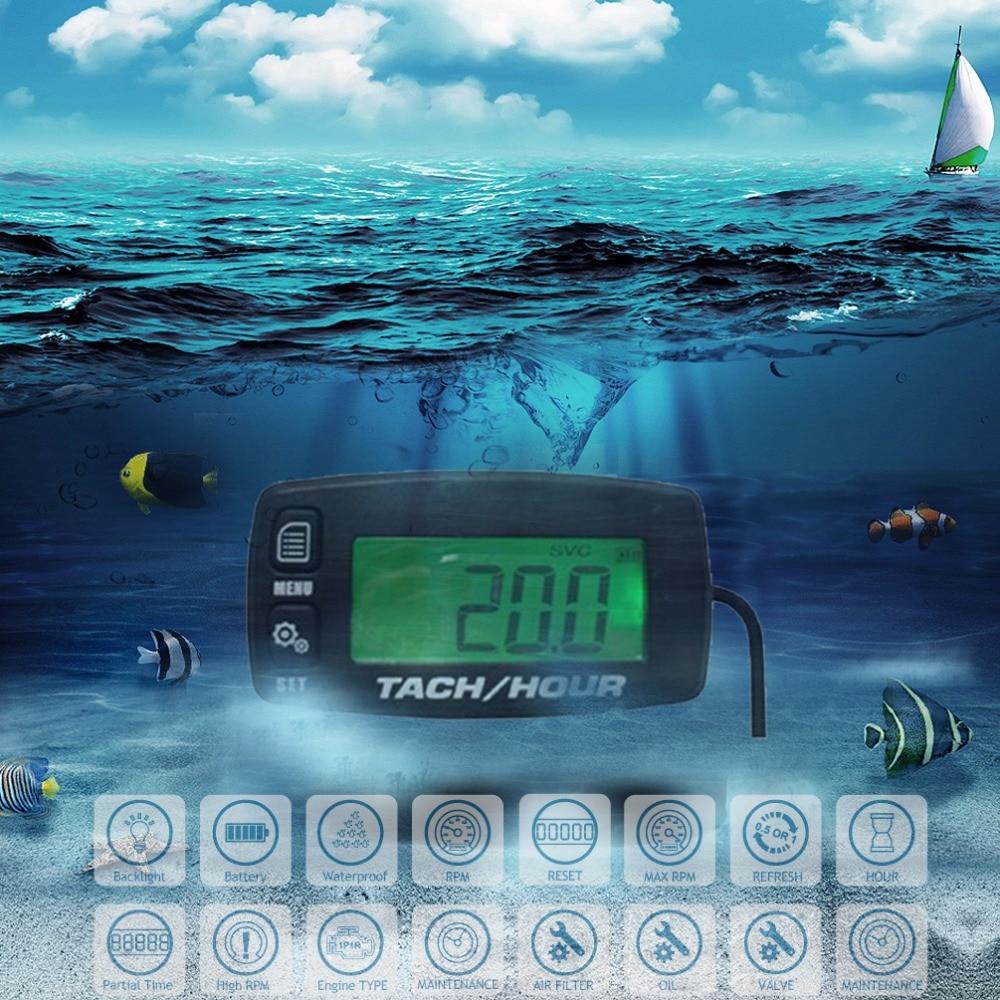 անջրանցիկ Backlight Hour Meter Tachometer MAX RPM ծովային նավակի համար ATV Ձնագնաց գեներատոր հնձվոր արտանետվող UTV motocross