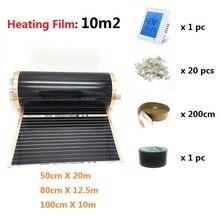 Minco calor infravermelho 10m2 filme de aquecimento elétrico underfloor filme quente kit sob piso sólido laminado