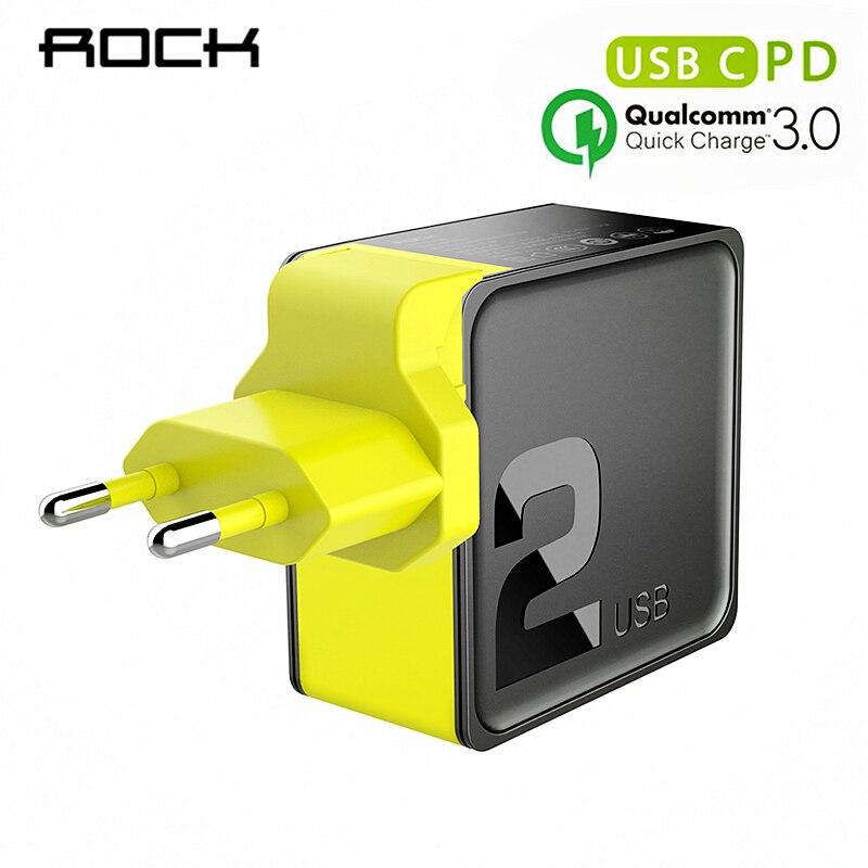 Cargador USB Dual ROCK PD QC 3,0 FCP 36 w enchufe EU de carga rápida para iPhone X 8 plus + PD tipo C para Cable de carga de iluminación 15 W