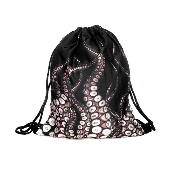 Popular Tentacles Pocket Fashion Bags Bunch Of Pocket Lovely Cloth Bag Animal Bags (Color: Black)