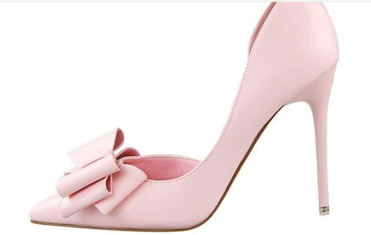 Yeni Moda Kadın Pompaları Seksi Yüksek Topuklu Düğün Ayakkabı Katı Sivri Burun Stiletto Yay Kadın Ayakkabı Beyaz Bayanlar Ayakkabı