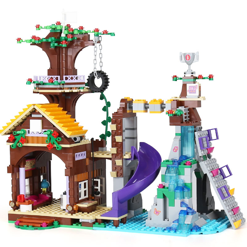 <font><b>10497</b></font> 01047 Girls Friends Series The Adventure Camp Tree House Good Model Building Blocks Brick Compatible Lego brick 41122 Toys image
