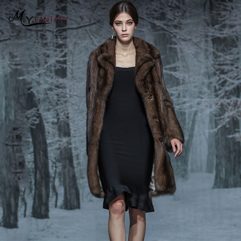 M.Y.FANSTY Luxury Collections Russian Full Sky Stars Purple Mink Full Mink Coat Fur Coat Female Strongly Recomm