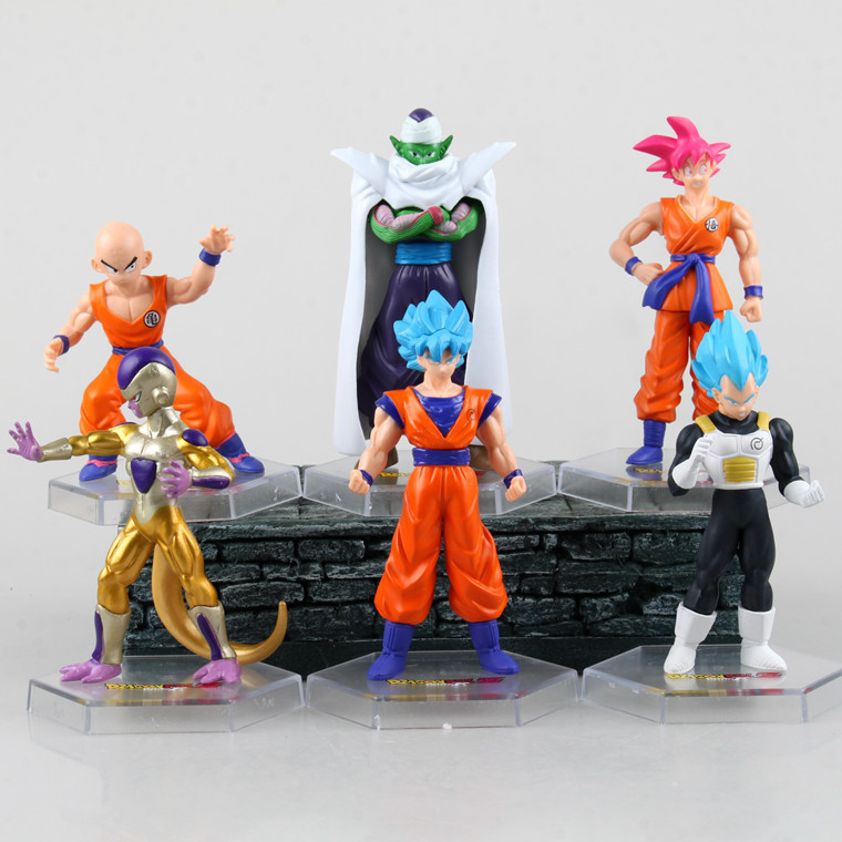6 pcs/lot Anime Dragon ball Z 55th generation Super Saiyan resurgence PVC Action Figure  ...
