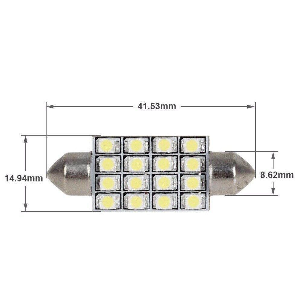 6000K Branco 41mm 42mm Festoon16-3528-SMD Lampadas LED para Luzes Interior Dome Map Trunk Luzes de Area de Carga 570 578 6413 12
