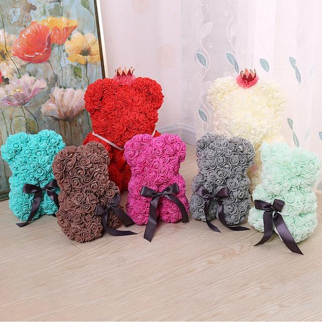 Foam Bear Mold PE Rose Artificial Flower Heads Rose Bear White Mold and Gift Box DIY Rose Bear Accessories Bag 4