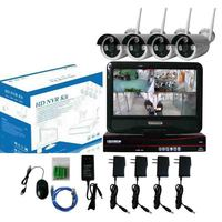 2TB HDD Plug And Play 4CH Wireless NVR Security Kit 10 LCD Screen 1080P HD Outdoor