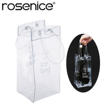 Durable Clear Transparent PVC Champagne Wine Ice Bag Pouch Cooler Bag with Handle(China)