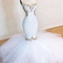 Длинное Элегантное платье для выпускного вечера es Сексуальная Русалка Милая бисерные кристаллы африканская темнокожая девушка белое платье для выпускного вечера
