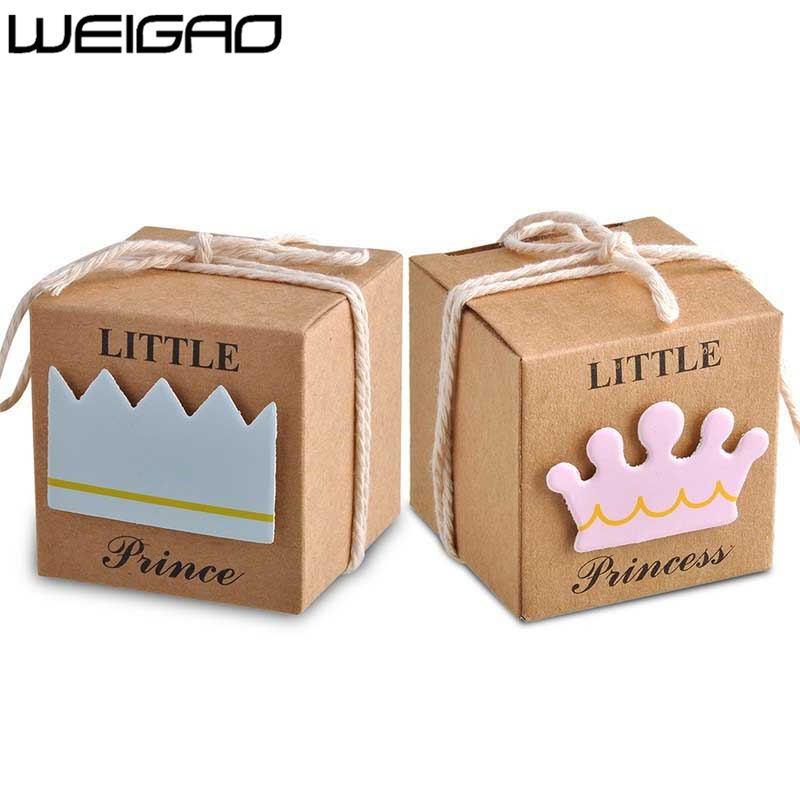 WEIGAO 20pcs/40pcs Kraft Paper Candy Box Baby Shower Gifts For Guests Birthday Party Babyshower Boy Girl Gift Bag Party Supplies-in Gift Bags & Wrapping Supplies from Home & Garden