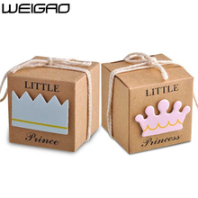 WEIGAO 20pcs/40pcs Kraft Paper Candy Box Baby Shower Gifts For Guests Birthday Party Babyshower Boy Girl Gift Bag Party Supplies