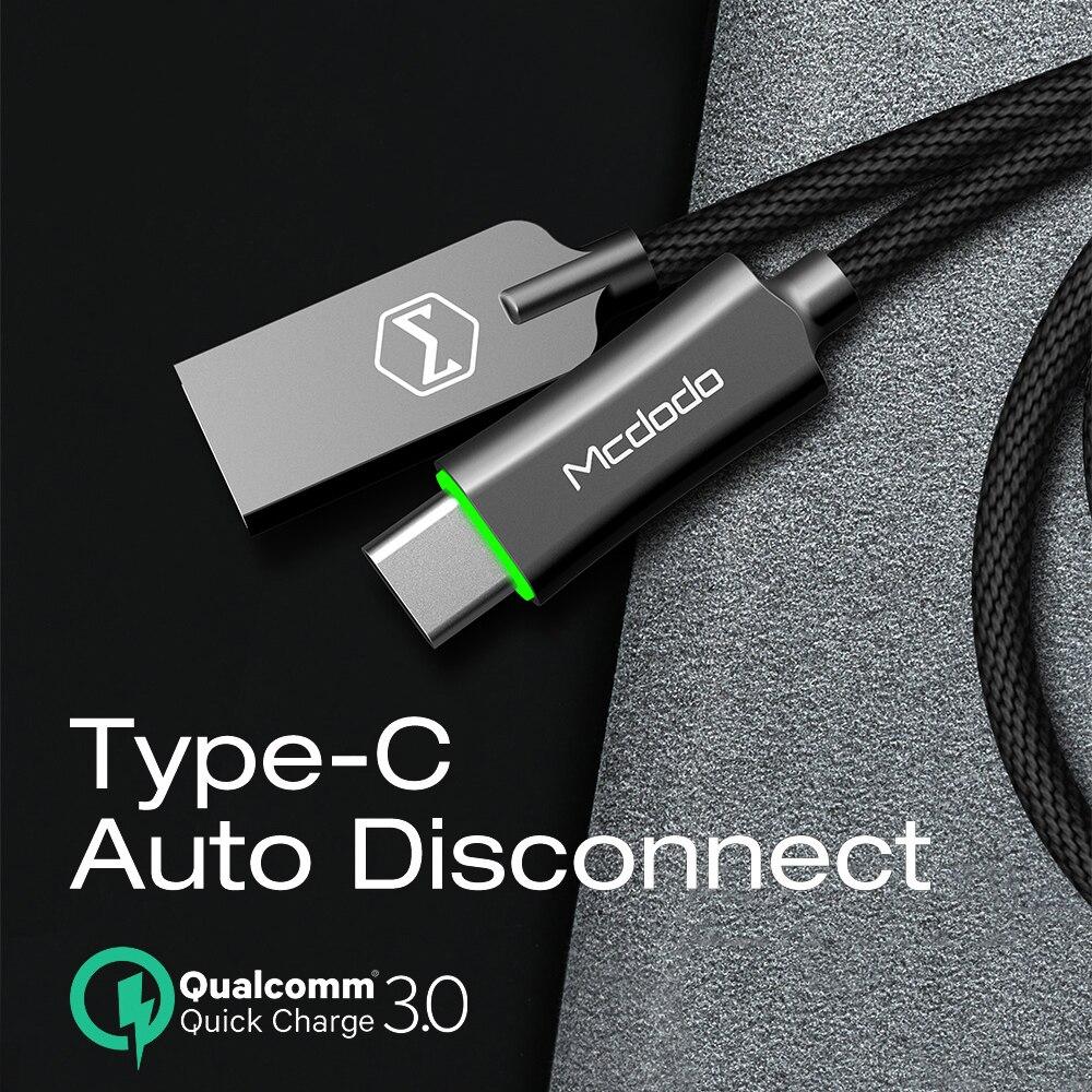 Mcdodo cabo usb tipo c qc3.0 carregamento rápido led cabo de dados carregador de telefone usb c para samsung s9 xiaomi huawei p20 pro oneplus 6 t